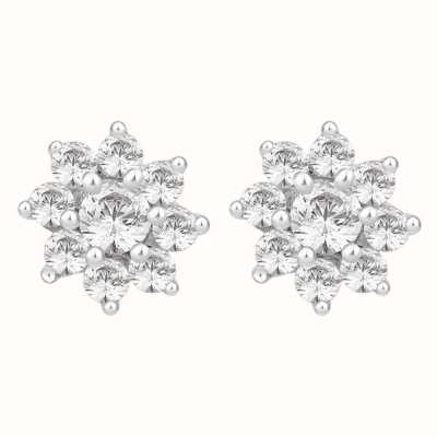 Perfection Swarovski Nine Stone Flower Cluster Stud Earrings (1.00ct) E2091-SK