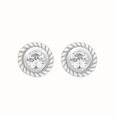 Perfection Swarovski Single Stone Rubover Ornate Stud Earrings (0.30ct) E2146-SK