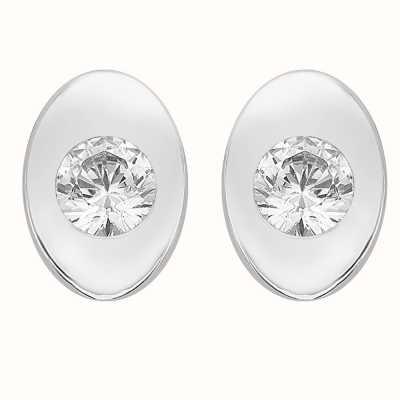 Perfection Swarovski Single Stone Rubover Oval Stud Earrings (0.15ct) E2168-SK