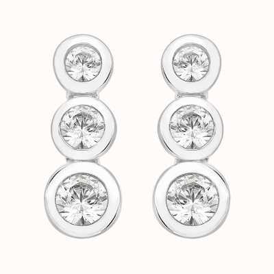 Perfection Swarovski Rubover Set Graduating Trilogy Stud Earrings (1.10ct) E2375-SK
