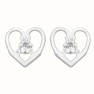 Perfection Swarovski Single Stone Stud Earrings in Heart Mount (0.15ct) E2667-SK