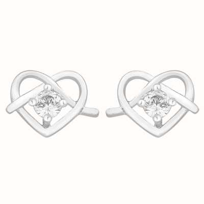Perfection Swarovski Single Stone Stud Earrings in Heart Shape (0.10ct) E2759-SK