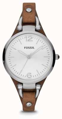 Fossil Womens Brown Leather Stainless Steel Watch ES3060