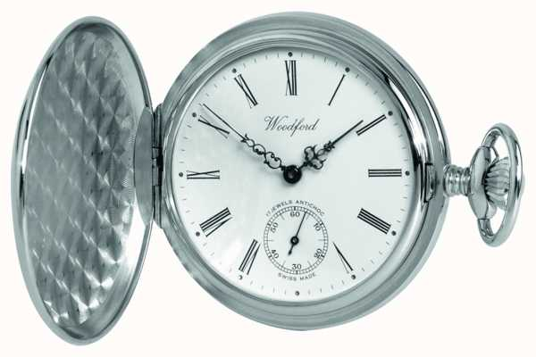 Woodford Chrome White Dial Full Hunter Mechanical Pocket Watch 1061
