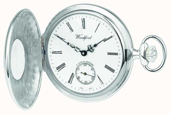 Woodford Sterling Silver Open Case White Dial Mechanical Pocket Watch 1068