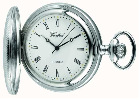 Woodford Chrome White Dial half Hunter Mechanical Pocket Watch 1055