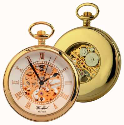 Woodford Gold-Plate White Skeleton Dial Open-Faced Pocket Watch 1030