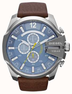 Diesel Mens Mega Chief Blue Dial Brown Leather Strap Chronograph DZ4281