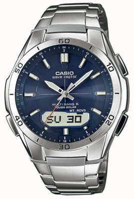 Casio Mens Wave Ceptor Blue Dial Stainless-Steel Watch WVA-M640D-2AER