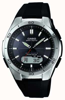 Casio Mens Wave Ceptor Black Rubber Strap Stainless-Steel Watch WVA-M640-1AER