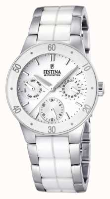 Festina Womens' White Ceramic & Stainless Steel Multi-Dial Watch F16530/1