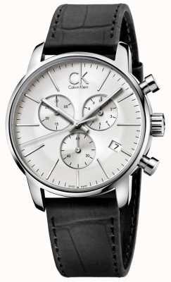 Calvin Klein Mens Stainless Steel & Black Silver Dial City Chronograph K2G271C6