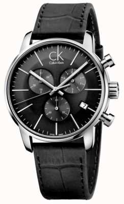 Calvin Klein Mens Black & Stainless Steel Leather Strap Watch K2G271C3