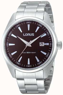 Lorus Mens Chunky Steel Black Dial Quartz Watch RH999CX9