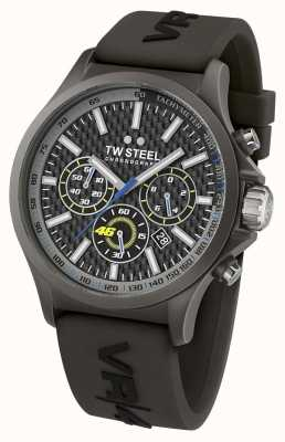 TW Steel Mens VR46 Black IP Steel Black Rubber Strap Chrono TW935