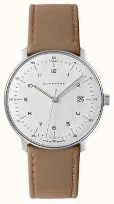 Junghans Mens Max Bill, White Dial Beige Leather Watch 041/4562.04