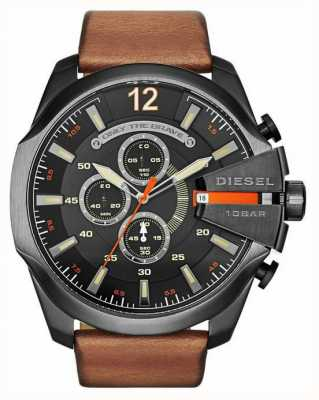 Diesel Mens Mega Chief Black Tan Chronograph Watch DZ4343