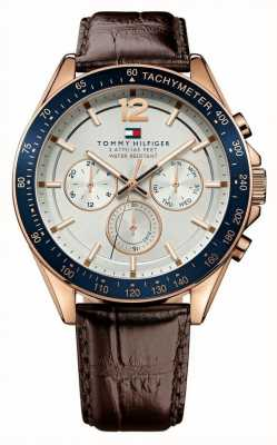 Tommy Hilfiger Men's Luke Rose Tone Brown Leather Watch 1791118