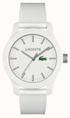 Lacoste Mens 12.12 White Silicone Strap White Dial 2010762