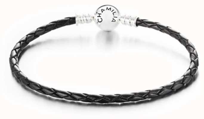 Chamilia Medium Braided Black Leather Bracelet with Round Snap Closure 1030-0124