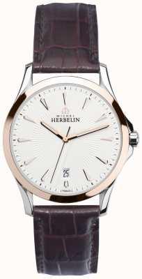 Michel Herbelin Mens Lyre Steel & Rose Gold, Leather Watch 12213/TR12MA