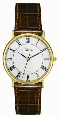 Michel Herbelin Mens PVD Gold Plated Watch, Brown Leather 12443/P08GO