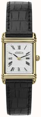 Michel Herbelin Womens Leather Strap Gold Tone Case Roman Num 17478/P08