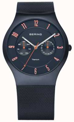 Bering Mens Classic, Dark Blue Titanium, Orange Accent 11939-393