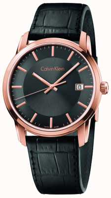 Calvin Klein Mens Infinite Black Leather Strap Black Dial K5S316C3