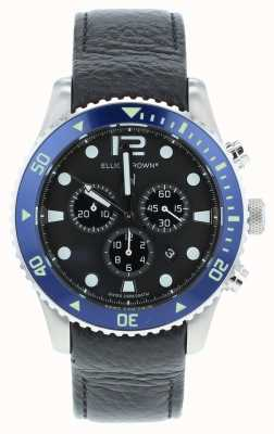 Elliot Brown Mens Bloxworth Custom Black Leather Blue Dial 929-003