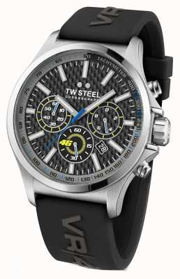 TW Steel Mens VR46 Stainless Steel Black Rubber Strap TW939