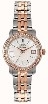Rotary Womens Two Tone Strap Silver Dial LB90092/41