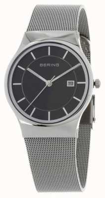 Bering Mens Black Dial Silver Strap 11938-002