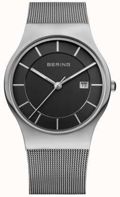 Bering Mens Black Dial Silver Strap Date Window 11938-002