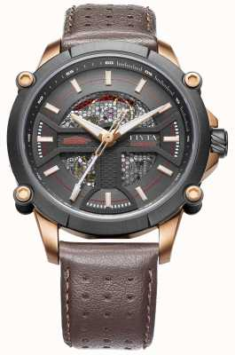 FIYTA Mens Brown Leather Strap Black Dial WGA866001.MBR