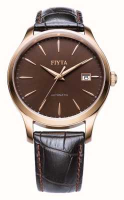 FIYTA Mens Brown Leather Strap Rose Gold Case WGA1010.PSR