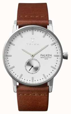 Triwa Mens Falken Brown Leather Strap White Dial FAST103-CL010212