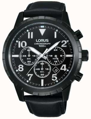 Lorus Mens Black Chronograph Black Leather Strap RT365FX9