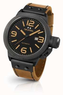 TW Steel Mens Canteen Light Brown Strap Black Dial CS45