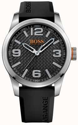 Hugo Boss Orange Mens Paris Black Rubber Strap Black Dial 1513350