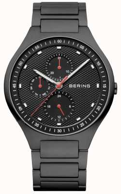 Bering Mens Black Ion Plated Black Dial Red Accents 11741-772
