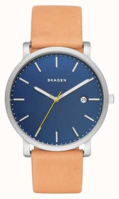 Skagen Mens Hagen Tan Leather Strap Blue Dial SKW6279