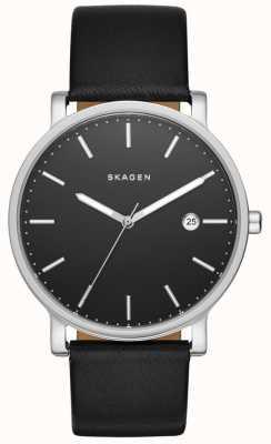 Skagen Mens Hagen Black Leather Strap Watch SKW6294
