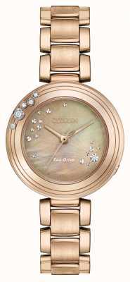 Citizen Womens Eco-Drive Six Diamonds Gold Plated EM0463-51Y