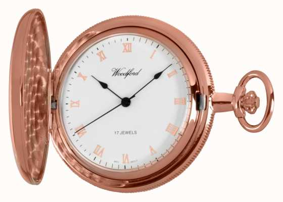 Woodford Full Hunter Rose Gold Pocket Watch 1091