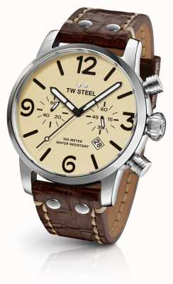 TW Steel Mens Maverick Chronograph Brown Leather Strap Cream Dial MS23
