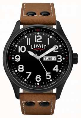Limit Mens Brown Leather Strap Black Dial 5492.01
