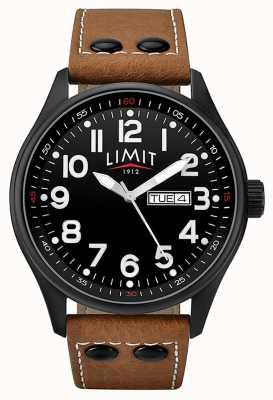 Limit Mens Brown Leather Strap Black Dial 5492.01
