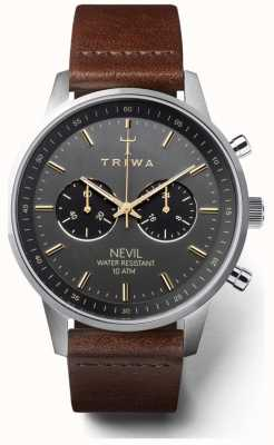 Triwa Mens Smoky Nevil Dark Brown Leather Strap Black Dial NEST114-CL010412