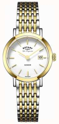 Rotary Womans Windsor Two Tone Silver Gold Metal Strap LB90154/01